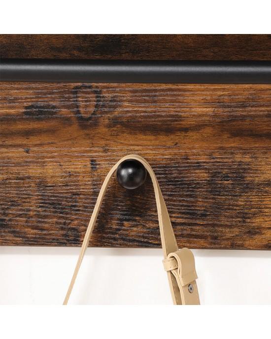 Κρεμάστρα τοίχου 21.5X60X40 cm με ράφι και πλάτη με 3 άγκιστρα Vintage – Sophia-LWS031X01