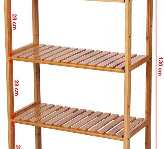 Ραφιέρα επιδαπέδια ξύλινη 60 x 26 x 130 cm από μπαμπού με 5 ράφια-Marianna