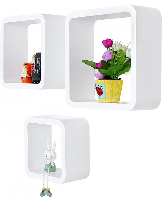 Ράφια λευκά τετράγωνα Vanna 34 x 16,5 x 34 cm σετ 3 τεμαχίων-