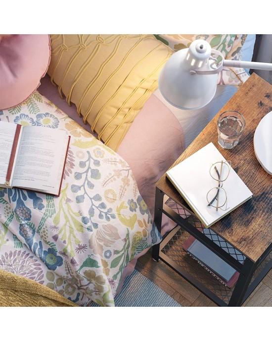 Βοηθητικό τραπεζάκι σαλονιού 75 x 35 x 45 εκ. μέταλλο & ξύλο Vintage -Sophia-LET75BX