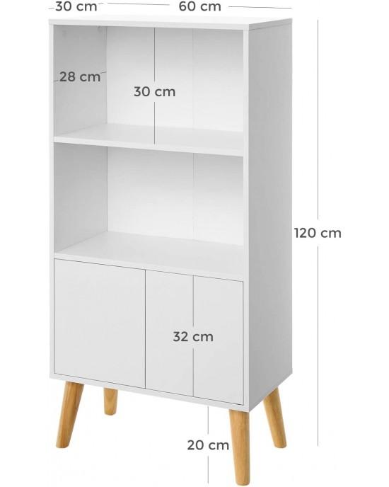 Βιβλιοθήκη ξύλινη 120 x 60 x 30 με 2 ράφια κι 1 ντουλάπι  λευκή-Paros-LBC09WT